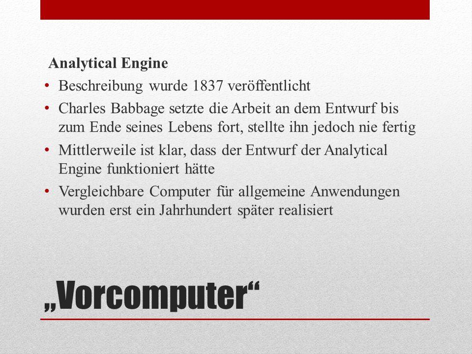 """""""Vorcomputer Analytical Engine Beschreibung wurde 1837 veröffentlicht"""