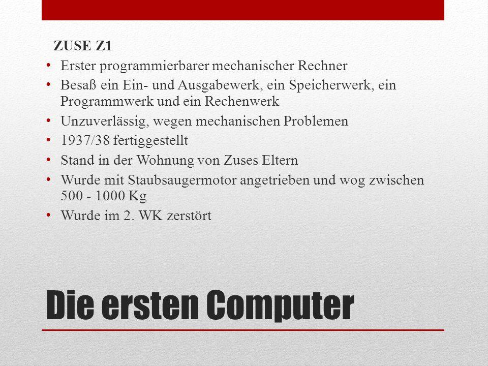 Die ersten Computer ZUSE Z1