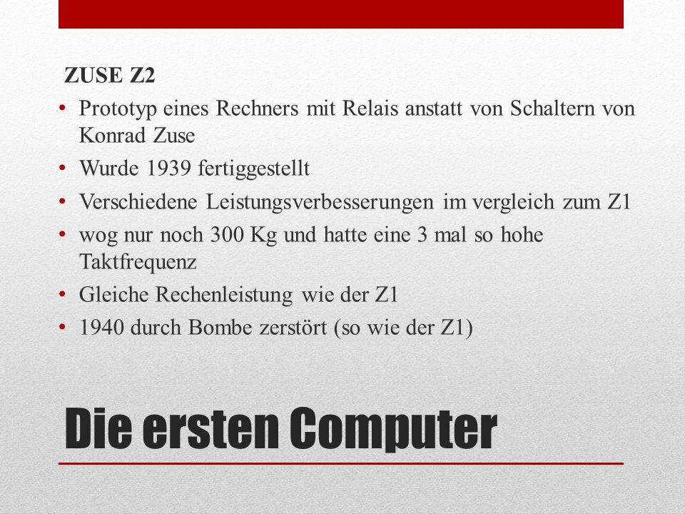 Die ersten Computer ZUSE Z2