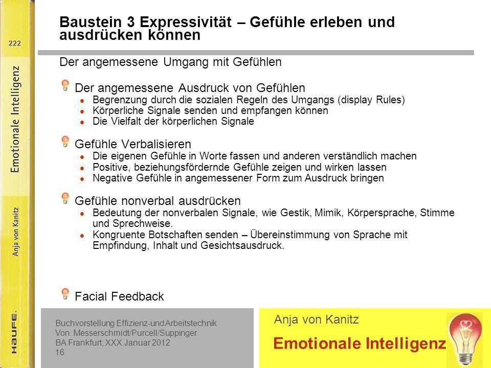 Baustein 3 Expressivität – Gefühle erleben und ausdrücken können