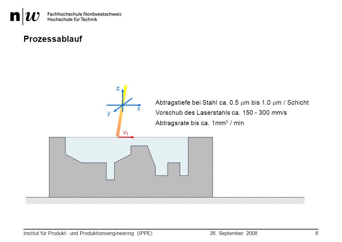 Prozessablauf z Abtragstiefe bei Stahl ca. 0.5 mm bis 1.0 mm / Schicht