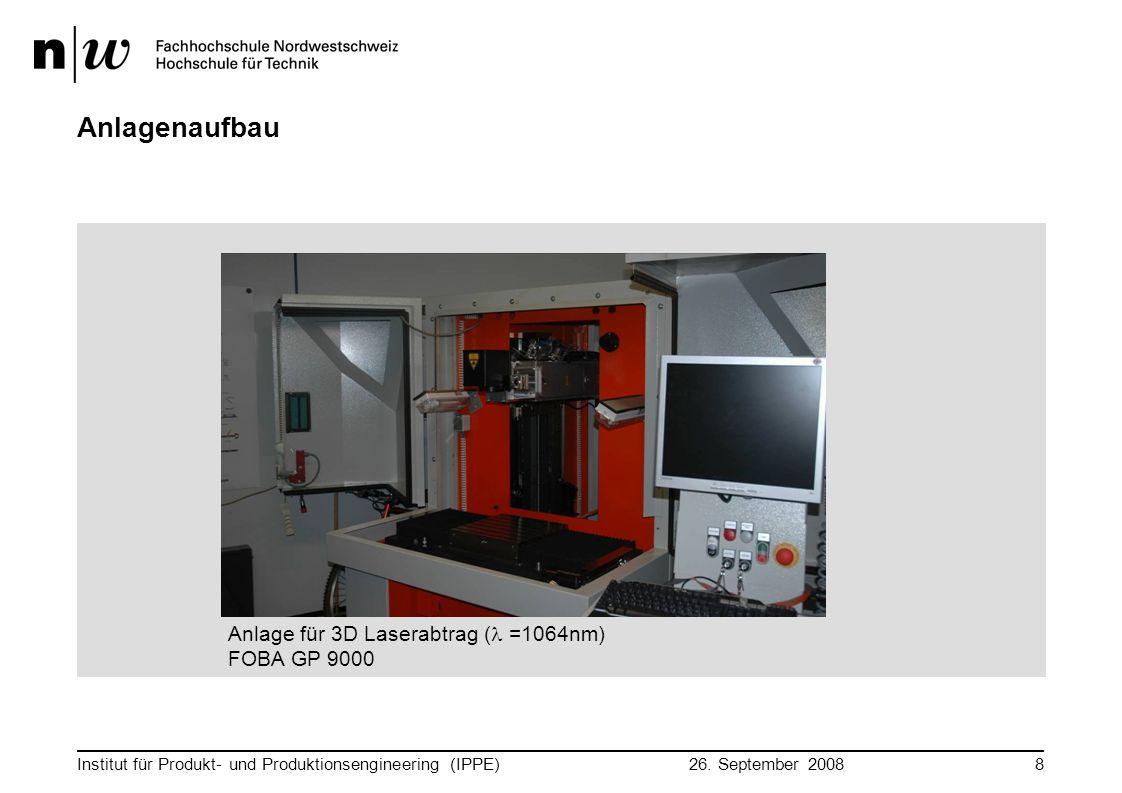 Anlagenaufbau Anlage für 3D Laserabtrag (l =1064nm) FOBA GP 9000