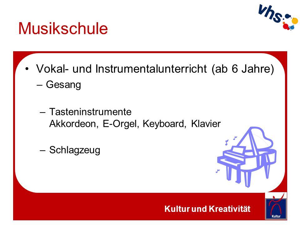 Musikschule Vokal- und Instrumentalunterricht (ab 6 Jahre) Gesang