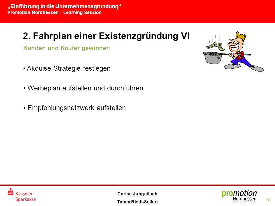 2. Fahrplan einer Existenzgründung VI
