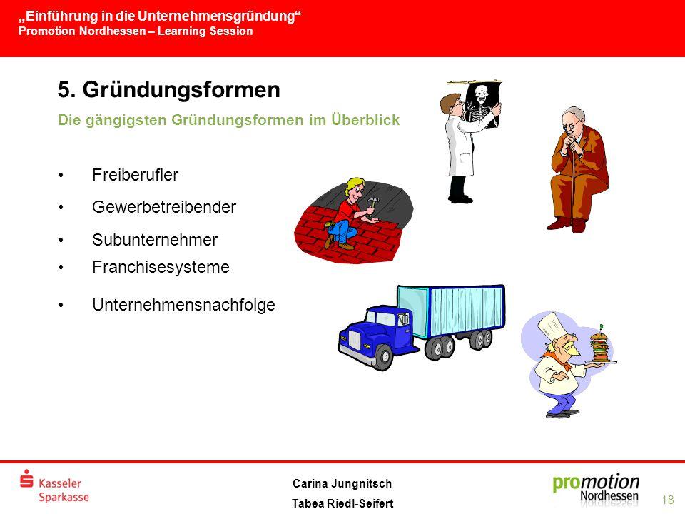 5. Gründungsformen Freiberufler Gewerbetreibender Subunternehmer