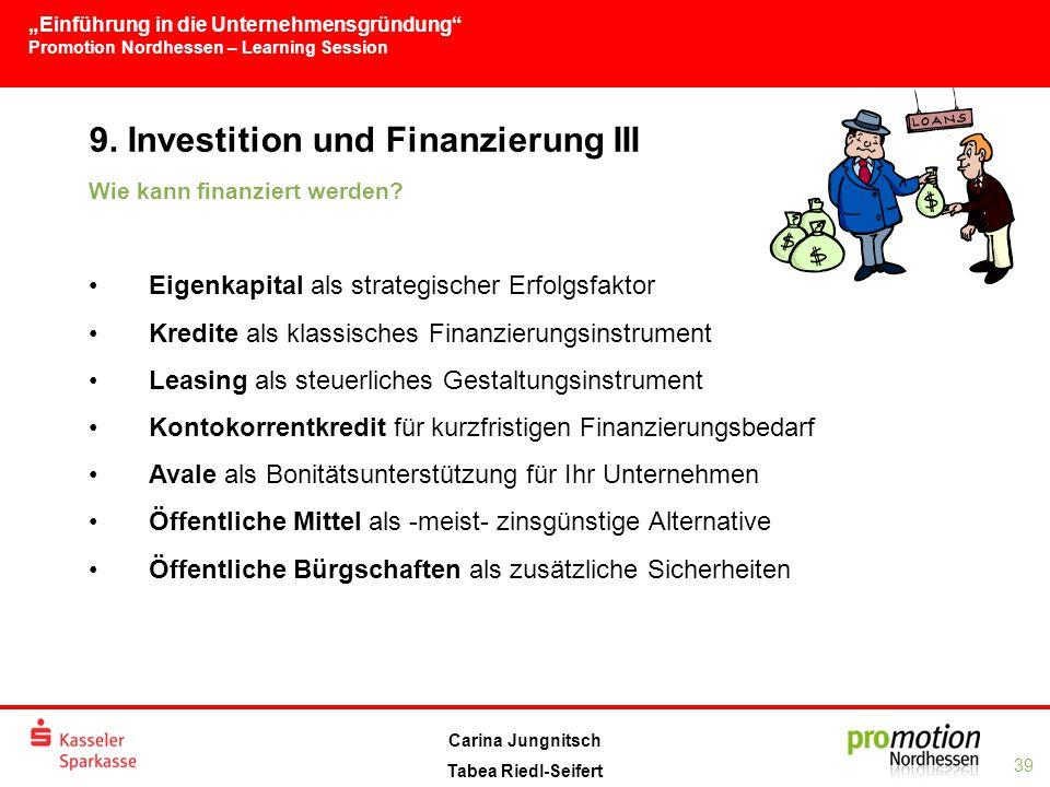 9. Investition und Finanzierung III