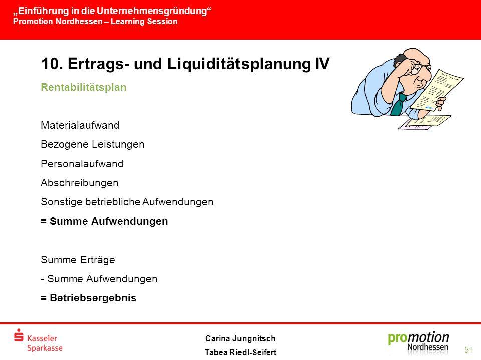 10. Ertrags- und Liquiditätsplanung IV