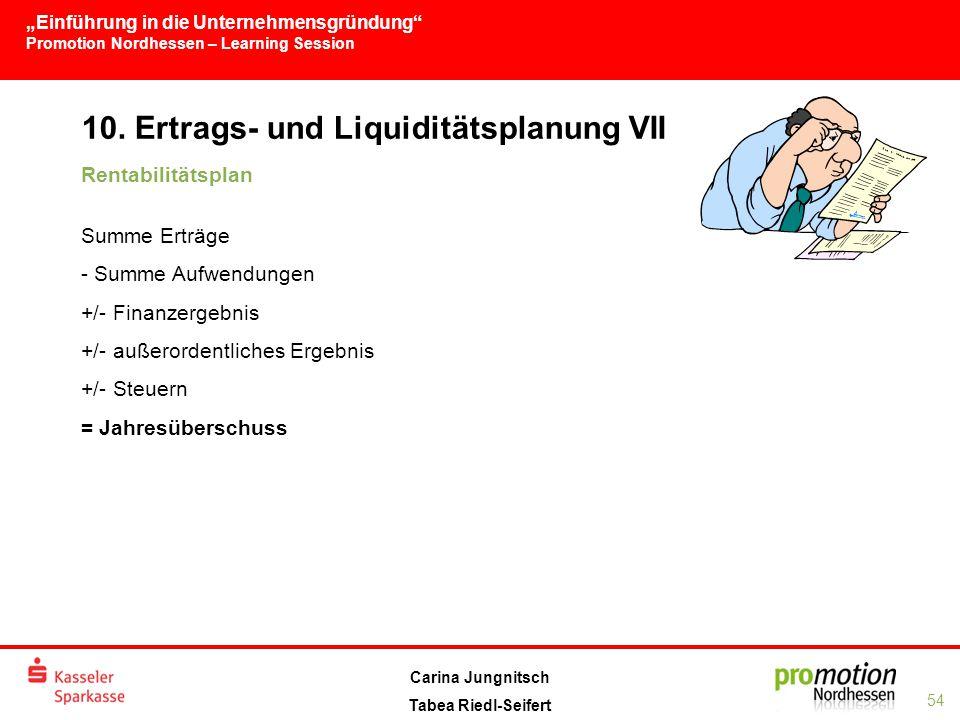 10. Ertrags- und Liquiditätsplanung VII