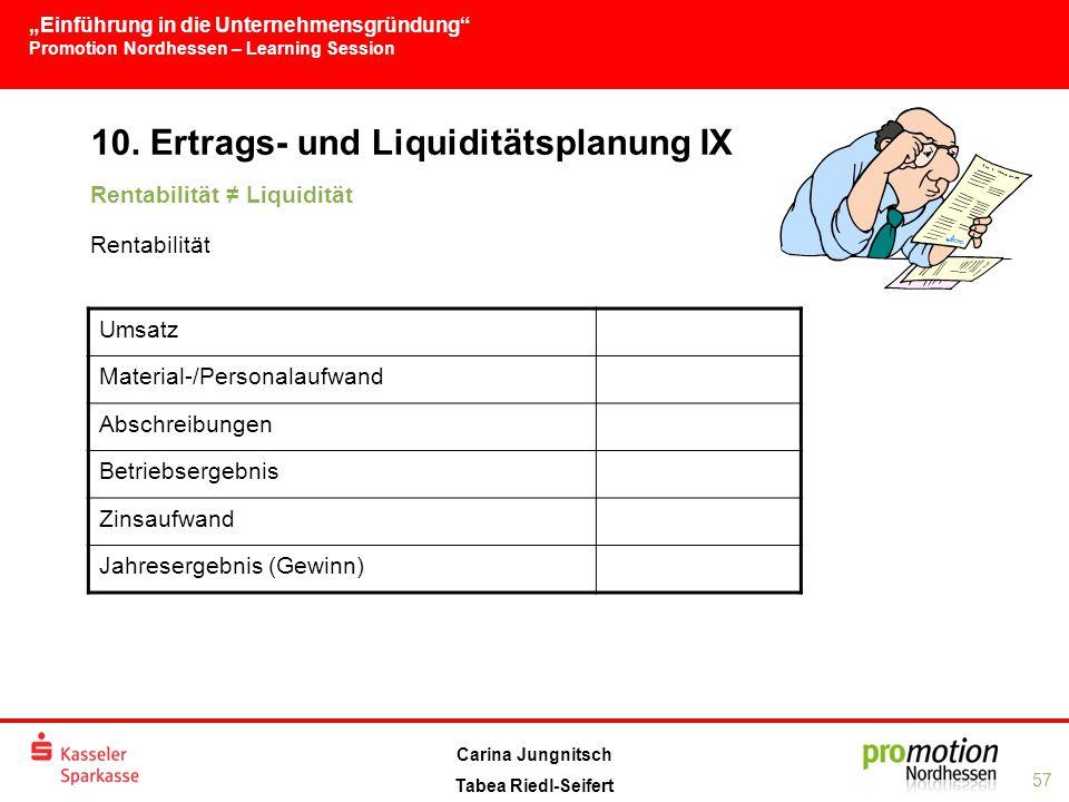 10. Ertrags- und Liquiditätsplanung IX