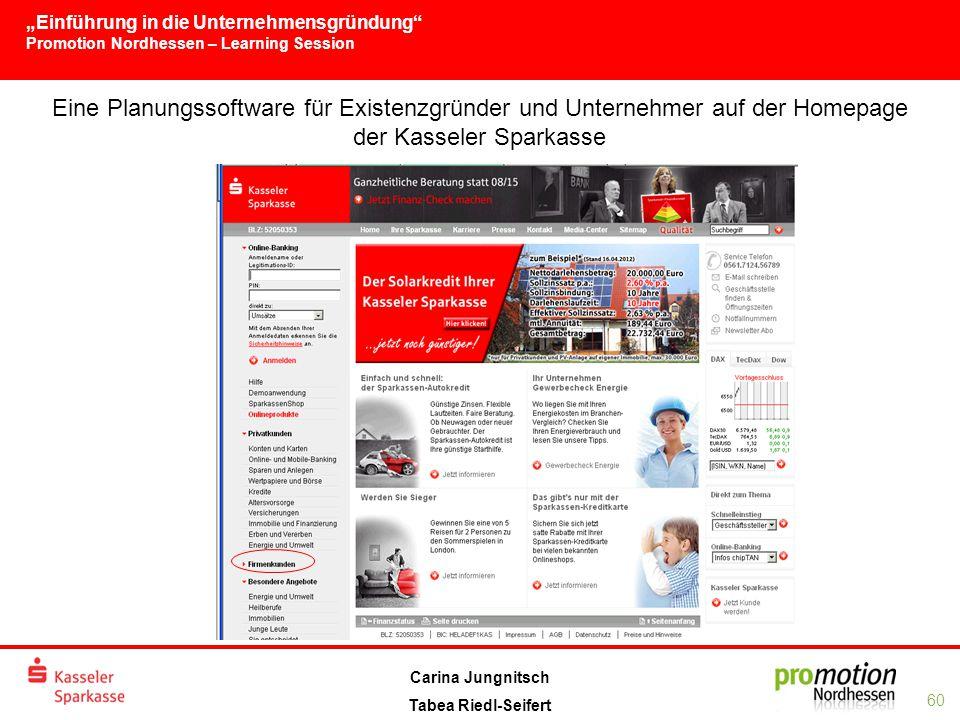 Eine Planungssoftware für Existenzgründer und Unternehmer auf der Homepage der Kasseler Sparkasse