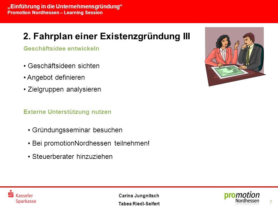 2. Fahrplan einer Existenzgründung III