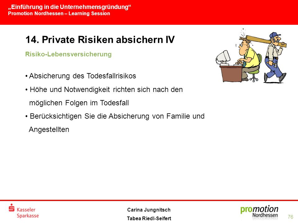 14. Private Risiken absichern IV