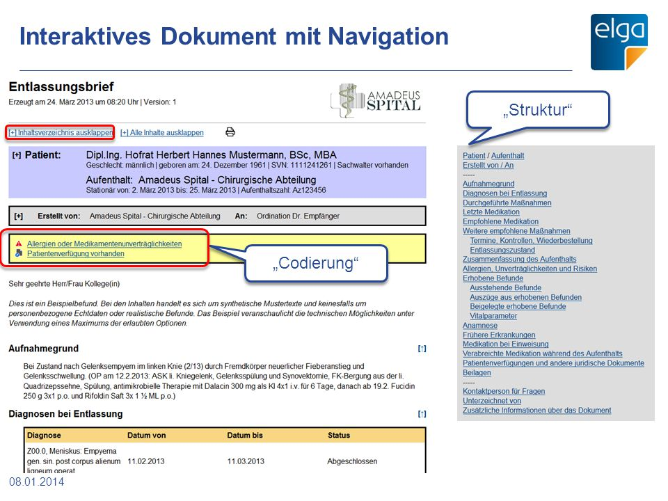 Interaktives Dokument mit Navigation