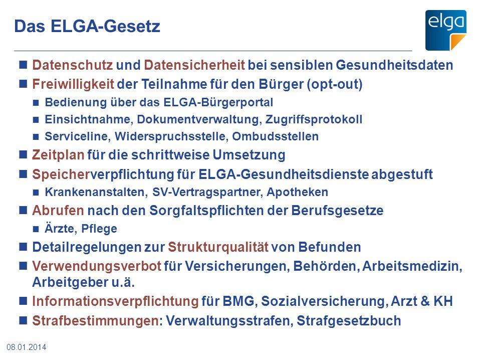 Das ELGA-Gesetz Datenschutz und Datensicherheit bei sensiblen Gesundheitsdaten. Freiwilligkeit der Teilnahme für den Bürger (opt-out)
