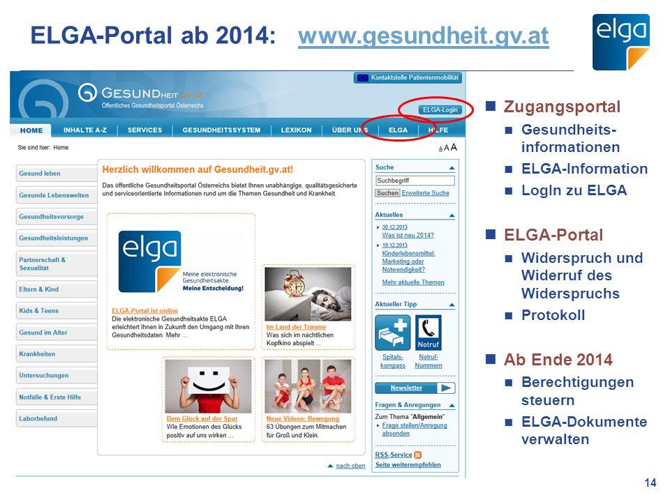 ELGA-Portal ab 2014: www.gesundheit.gv.at