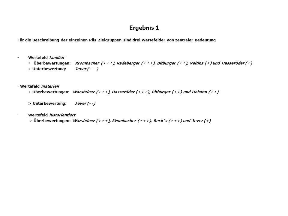 Ergebnis 1 Für die Beschreibung der einzelnen Pils-Zielgruppen sind drei Wertefelder von zentraler Bedeutung.