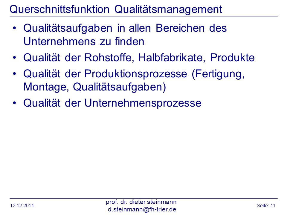 Querschnittsfunktion Qualitätsmanagement