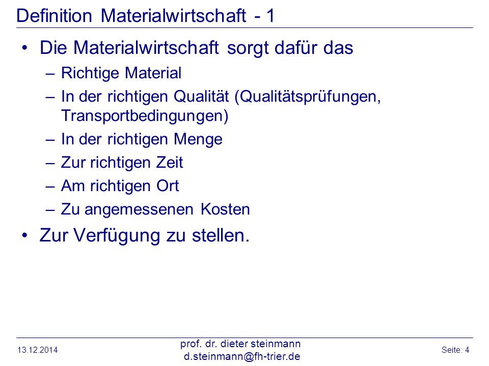 Definition Materialwirtschaft - 1