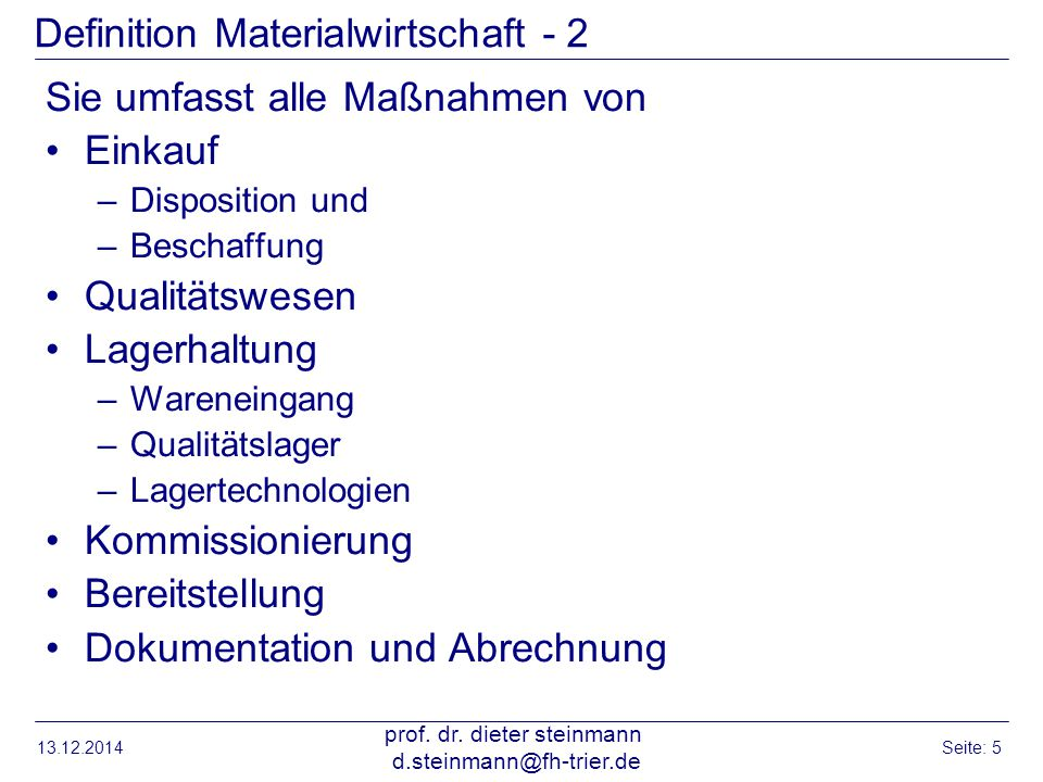 Definition Materialwirtschaft - 2