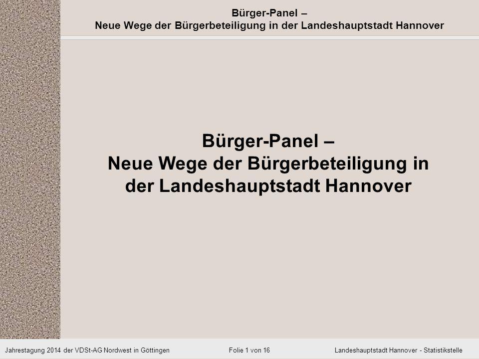 Bürger-Panel – Neue Wege der Bürgerbeteiligung in der Landeshauptstadt Hannover