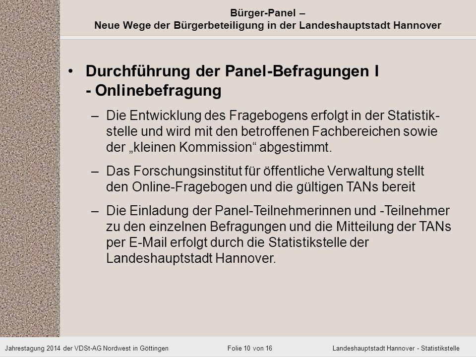 Durchführung der Panel-Befragungen I - Onlinebefragung