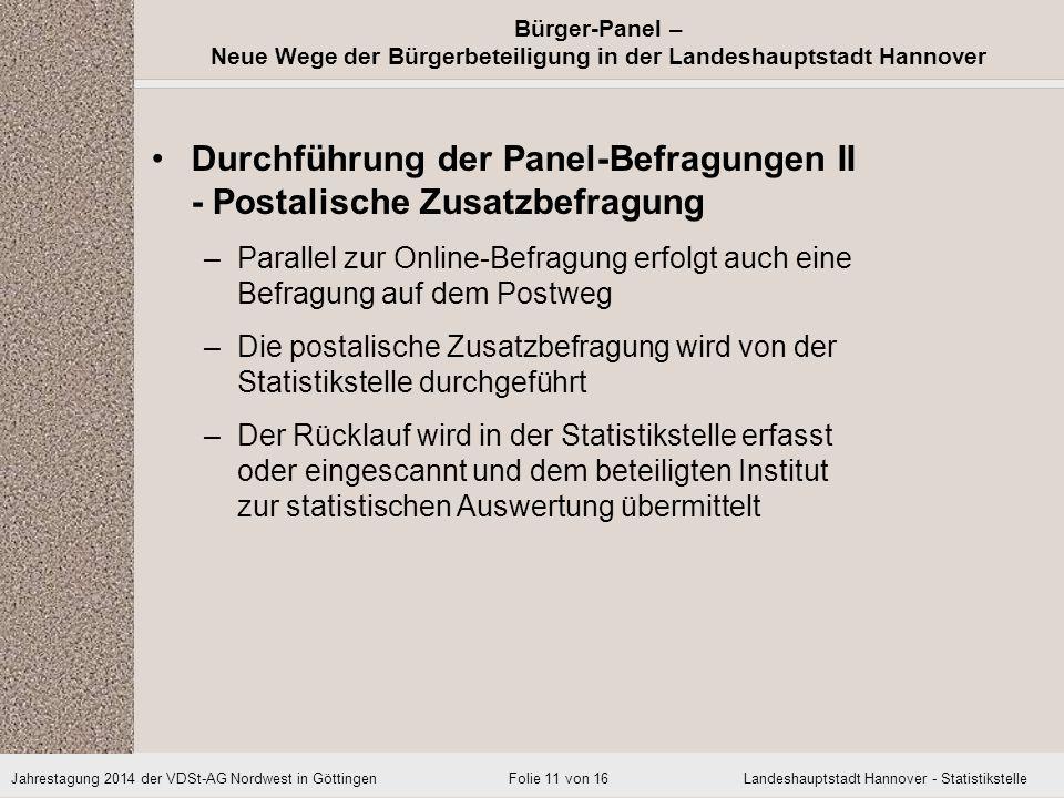Durchführung der Panel-Befragungen II - Postalische Zusatzbefragung