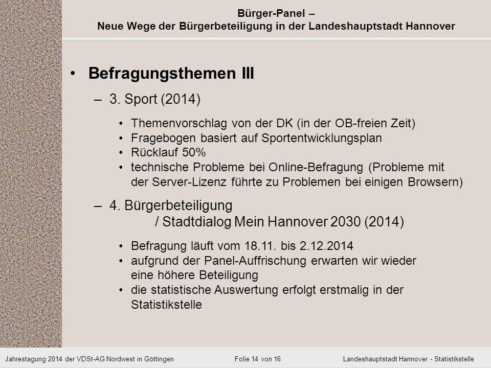 Befragungsthemen III 3. Sport (2014)