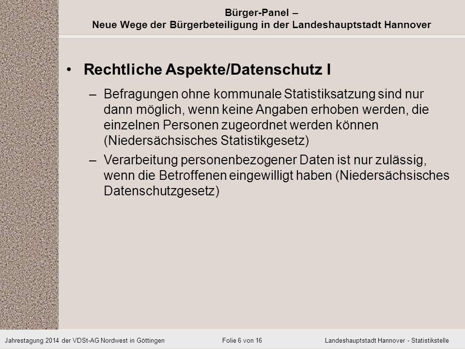 Rechtliche Aspekte/Datenschutz I