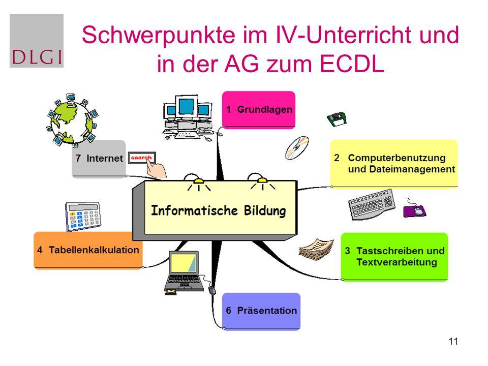 Schwerpunkte im IV-Unterricht und in der AG zum ECDL