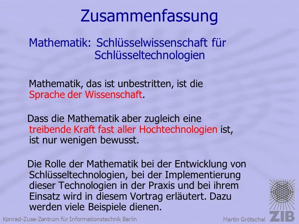 Zusammenfassung Mathematik: Schlüsselwissenschaft für Schlüsseltechnologien.
