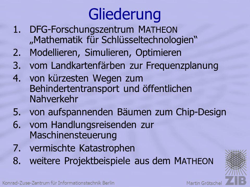 """Gliederung DFG-Forschungszentrum MATHEON """"Mathematik für Schlüsseltechnologien Modellieren, Simulieren, Optimieren."""
