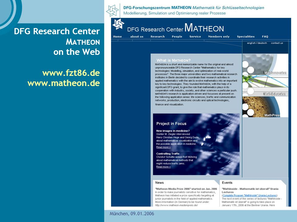 DFG Research Center MATHEON on the Web     München,