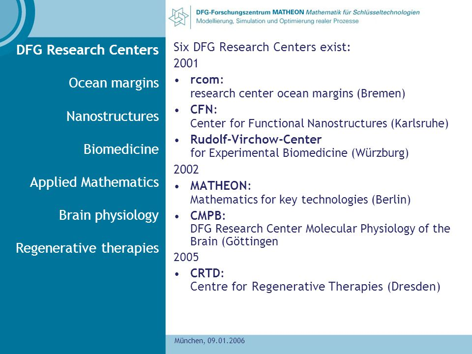 DFG Research Centers Ocean margins Nanostructures Biomedicine Applied Mathematics Brain physiology Regenerative therapies