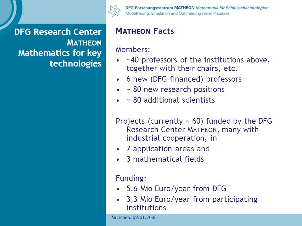 DFG Research Center MATHEON Mathematics for key technologies