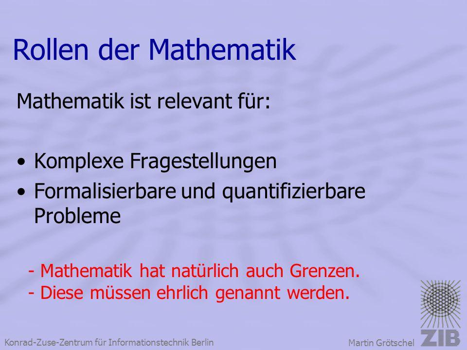 Rollen der Mathematik Mathematik ist relevant für: