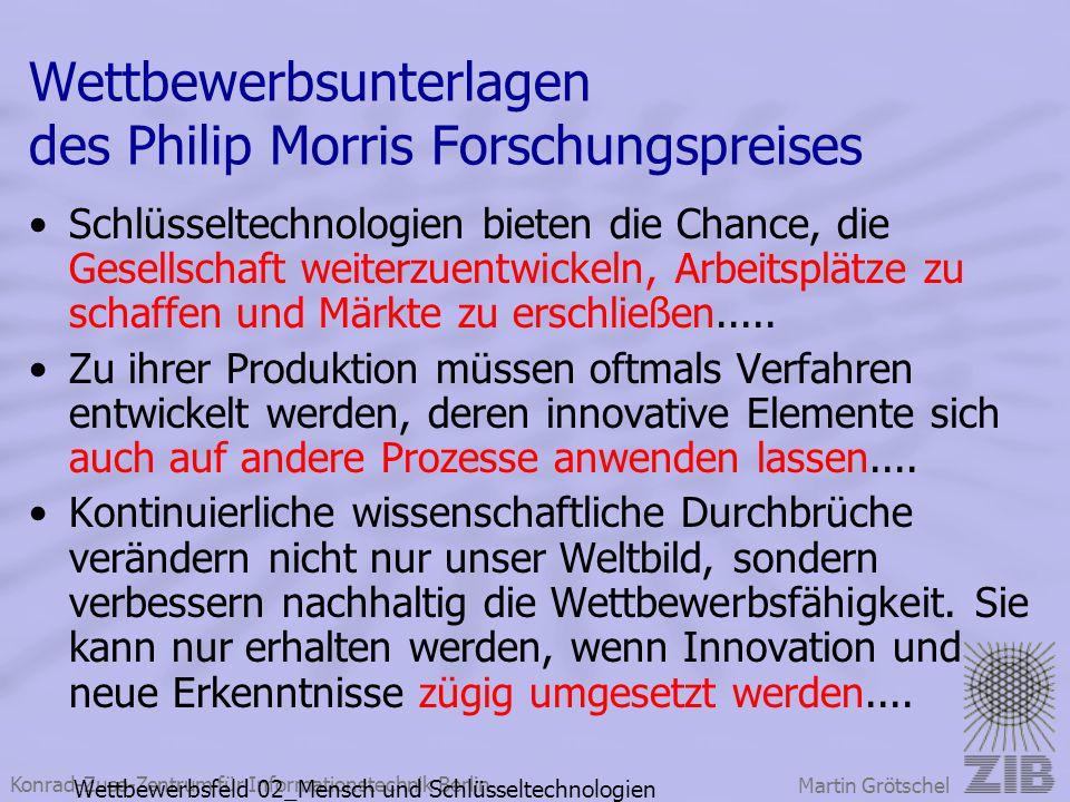 Wettbewerbsunterlagen des Philip Morris Forschungspreises