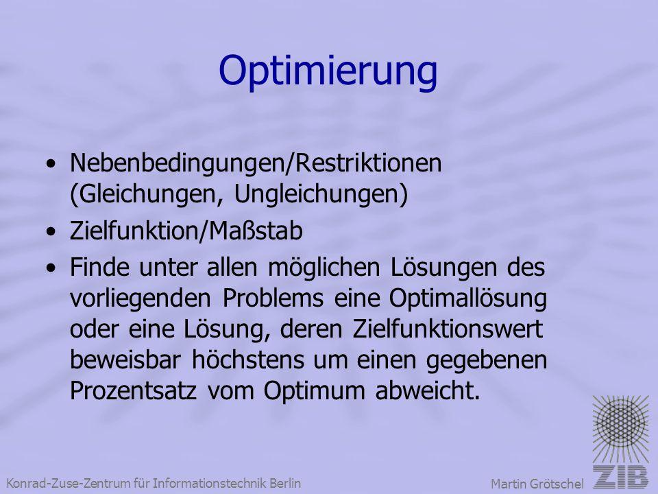Optimierung Nebenbedingungen/Restriktionen (Gleichungen, Ungleichungen) Zielfunktion/Maßstab.