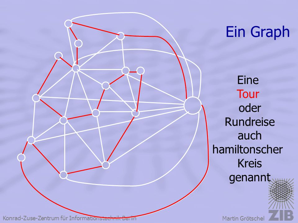 Ein Graph Eine Tour oder Rundreise auch hamiltonscher Kreis genannt