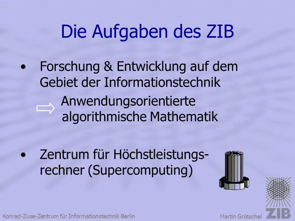 Die Aufgaben des ZIB Forschung & Entwicklung auf dem Gebiet der Informationstechnik. Anwendungsorientierte algorithmische Mathematik.