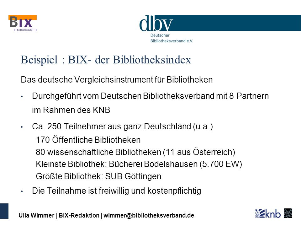 Beispiel : BIX- der Bibliotheksindex