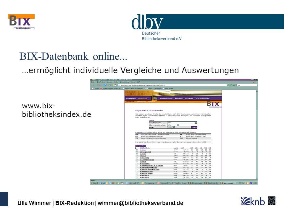 BIX-Datenbank online... …ermöglicht individuelle Vergleiche und Auswertungen. www.bix-bibliotheksindex.de.