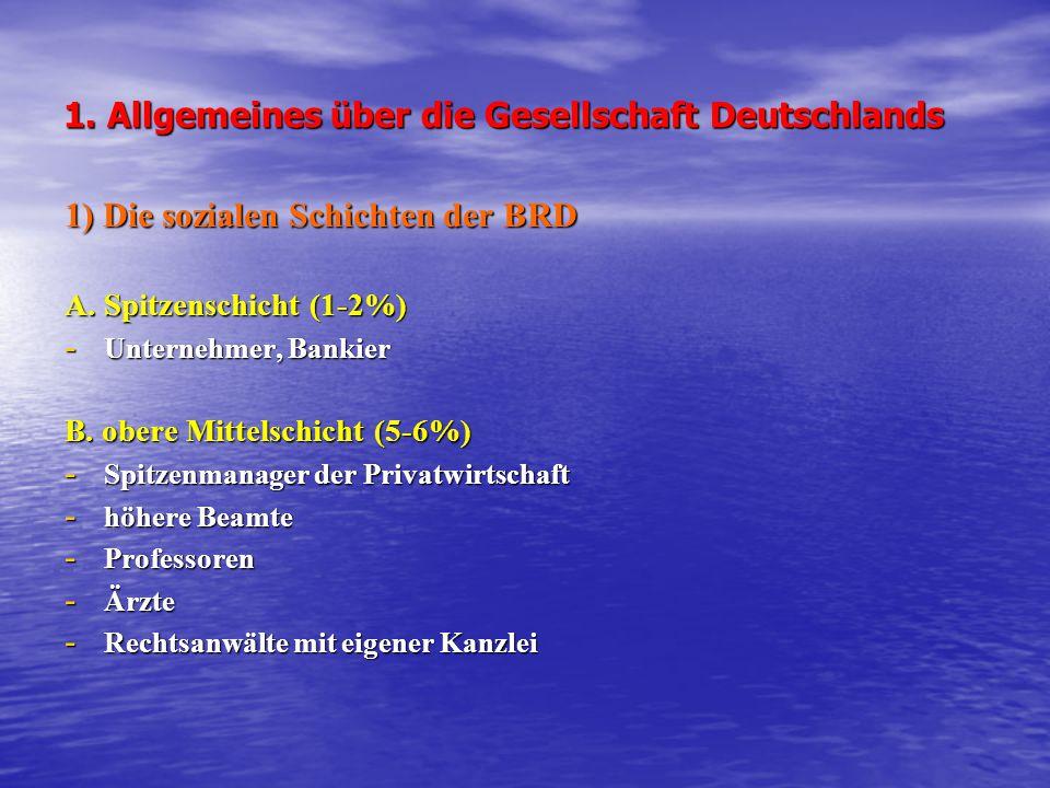 1. Allgemeines über die Gesellschaft Deutschlands