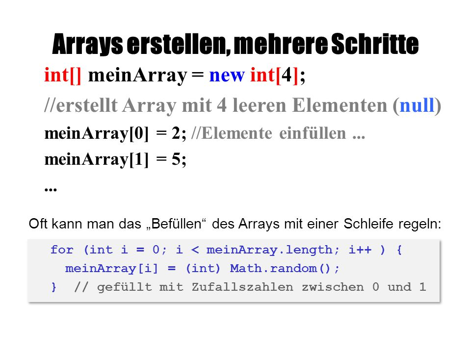Arrays erstellen, mehrere Schritte