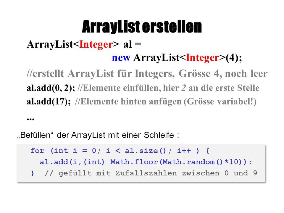 ArrayList erstellen ArrayList<Integer> al = new ArrayList<Integer>(4); //erstellt ArrayList für Integers, Grösse 4, noch leer.