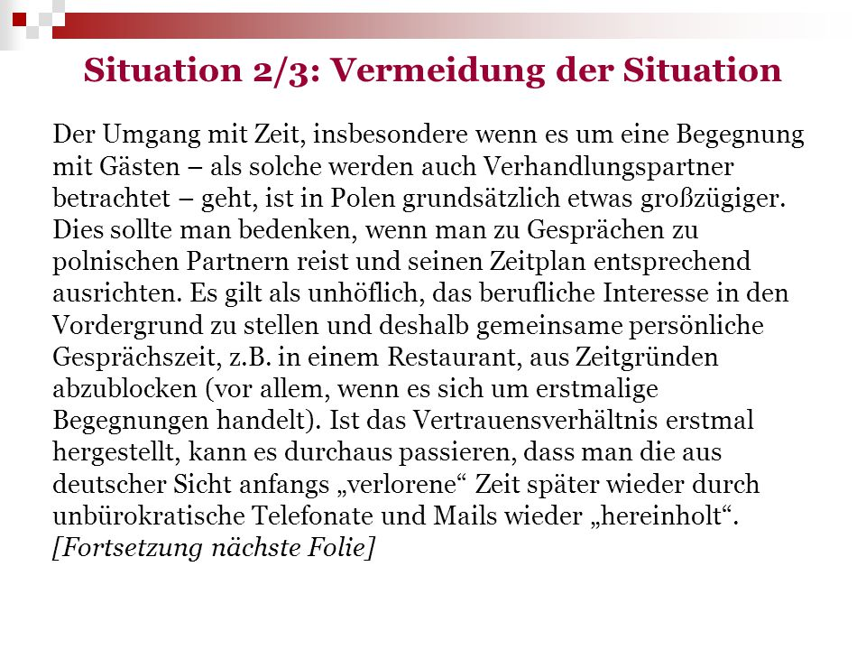 Situation 2/3: Vermeidung der Situation