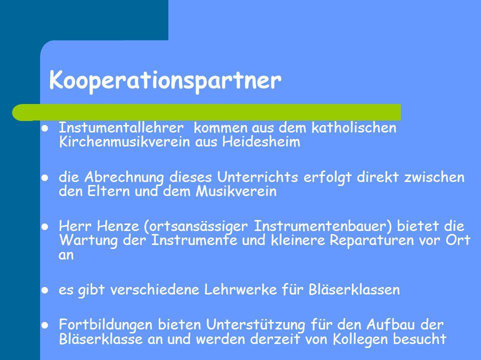 Kooperationspartner Instumentallehrer kommen aus dem katholischen Kirchenmusikverein aus Heidesheim.