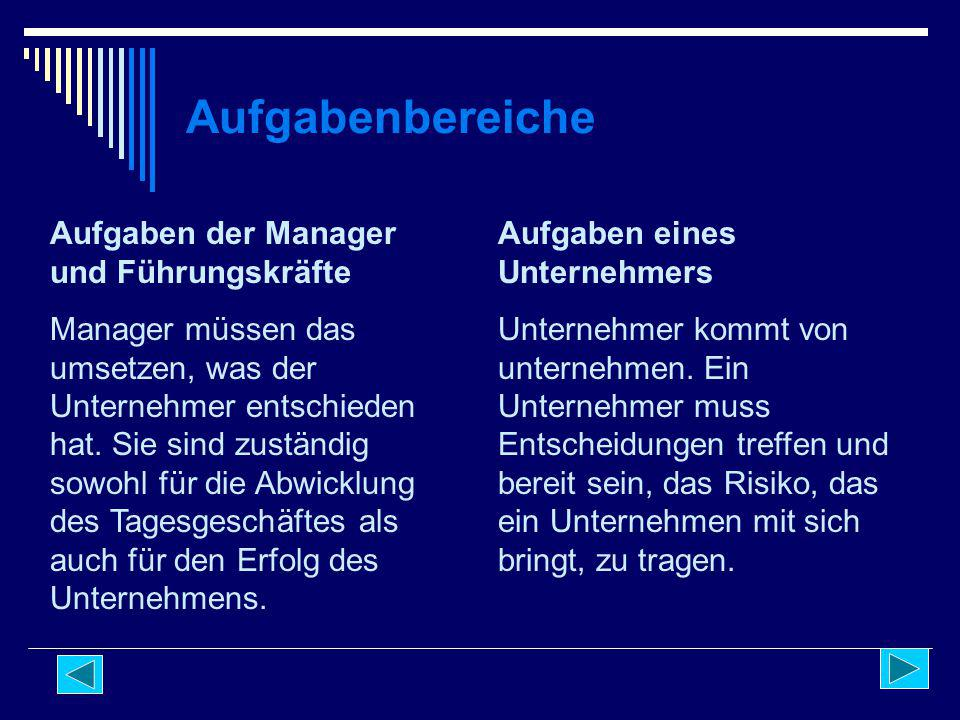 Aufgabenbereiche Aufgaben der Manager und Führungskräfte