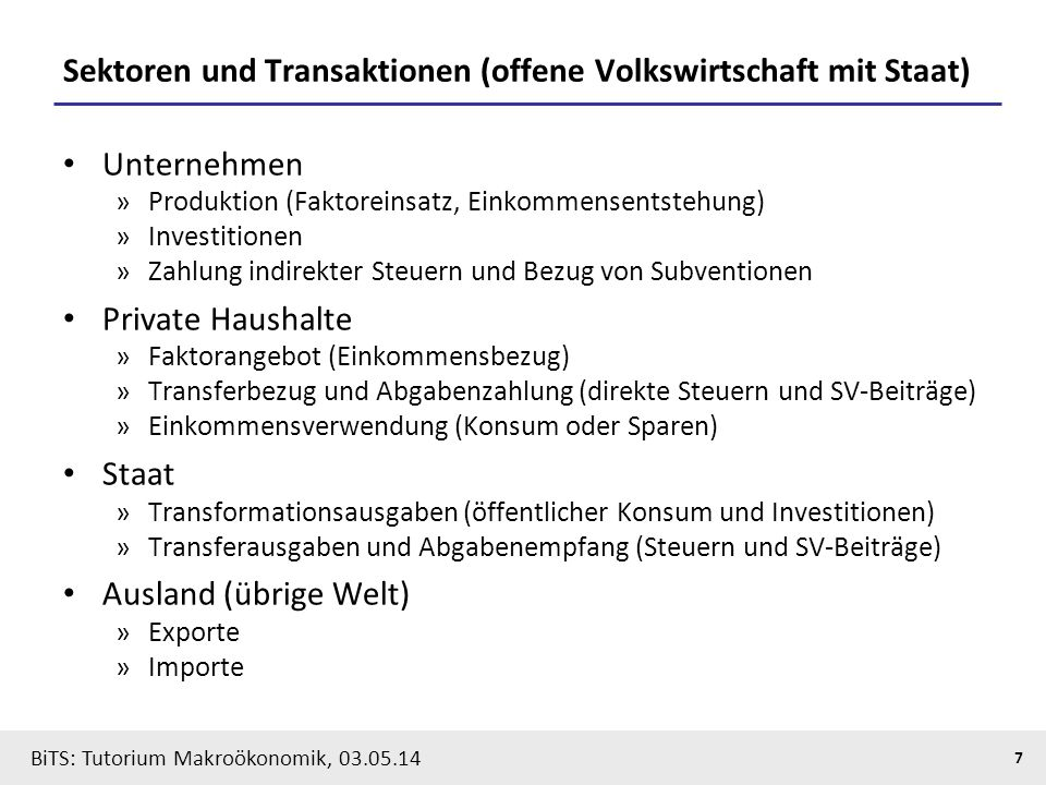 Sektoren und Transaktionen (offene Volkswirtschaft mit Staat)