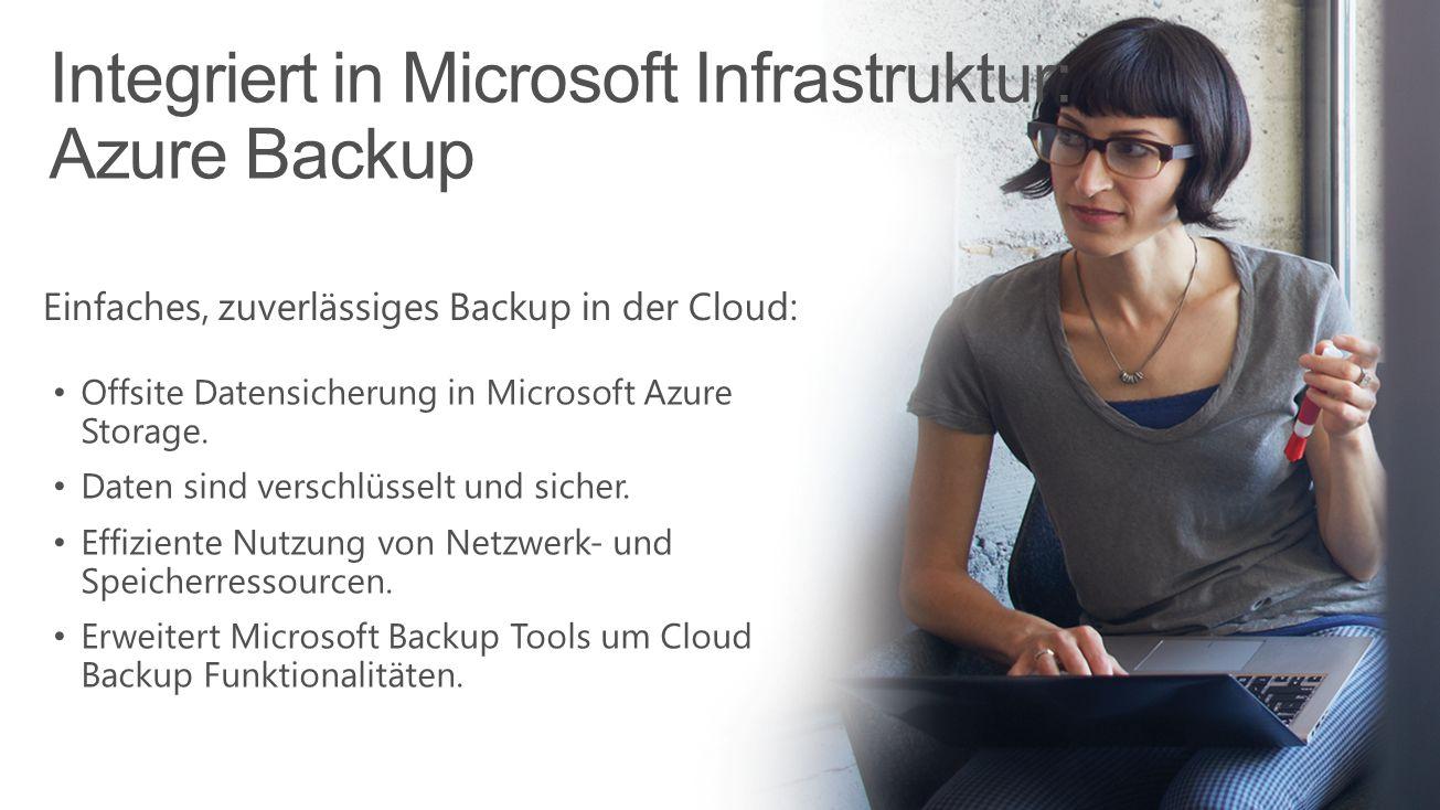 Integriert in Microsoft Infrastruktur: Azure Backup