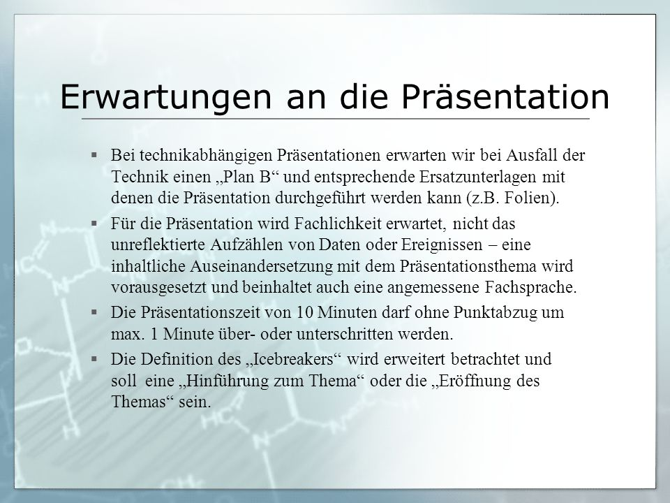 Erwartungen an die Präsentation